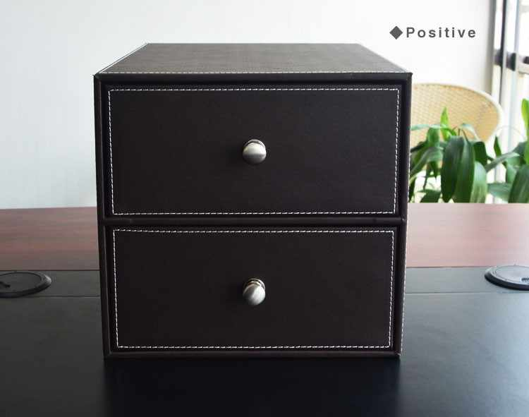 PITEBO 2-gaveta/dupla camada de couro mesa de escritório armário de arquivamento arquivo organizador caixa de armazenamento titular