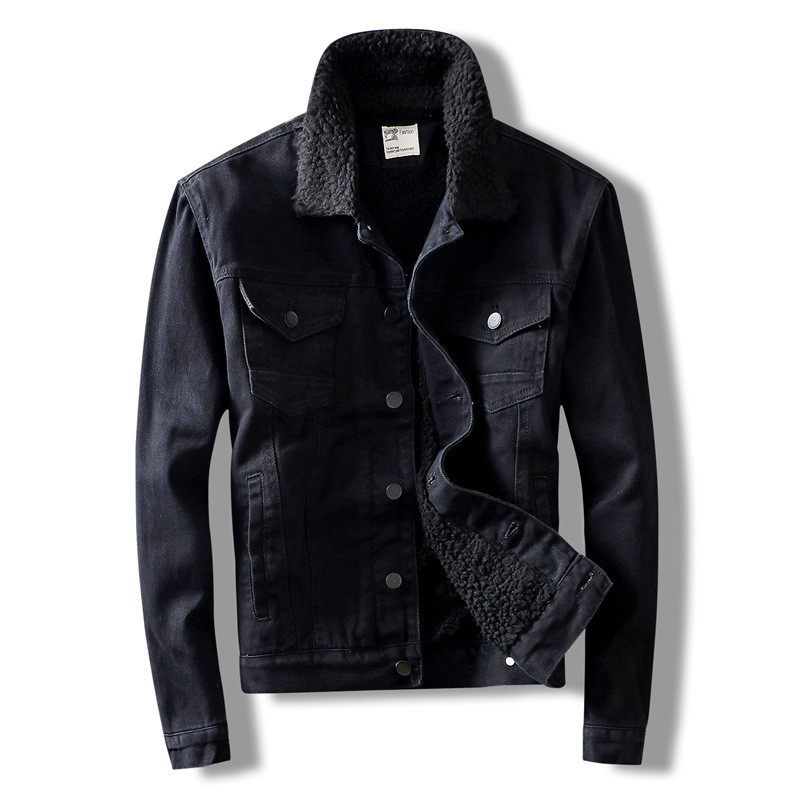 MORUANCLE Men's Warm Denim Jackets And Coats Fleece Lined Thick Thermal Jean Trucket Jacket Outerwear For Male Size M-XXXL Black