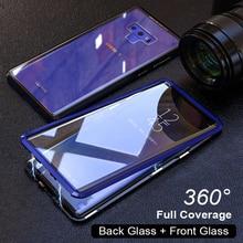 Двойной Стекло полное покрытие тела Защитный чехол для Samsung Galaxy S8 S9 плюс Примечание 8 9 противоударный чехол Металл Bumber для S 8 9 плюс