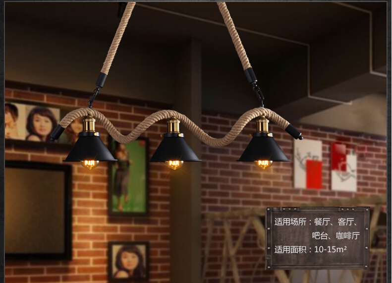 3 Lights Industrial Vintage Pendant Lights Hemp Rope American Loft Style Edison Hanglamp Fixtures For Home Lightings Droplight novelty volcanic stone led pendant lamp reisn hemp rope creative droplight hanglamp fixtures for home lightings cafe living room
