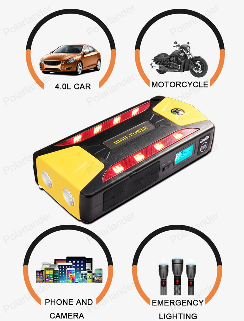 portable car jump starter multi function diesel power bank bateria battery 12V car charger auto start booster high quality 12v universal car charger 50800mah multi function car jump starter power bank rechargable battery