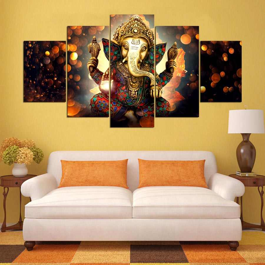 Wall Art Canvas Painting Elephant God Style Pictures For Living Room 5 Panel Lord Ganesha Cuadros Modern Decoration Paintings