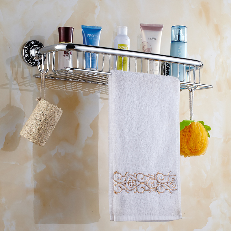 Chrome Carved Square Bathroom Basket Brass Bathroom Shelf Wall Mount ...