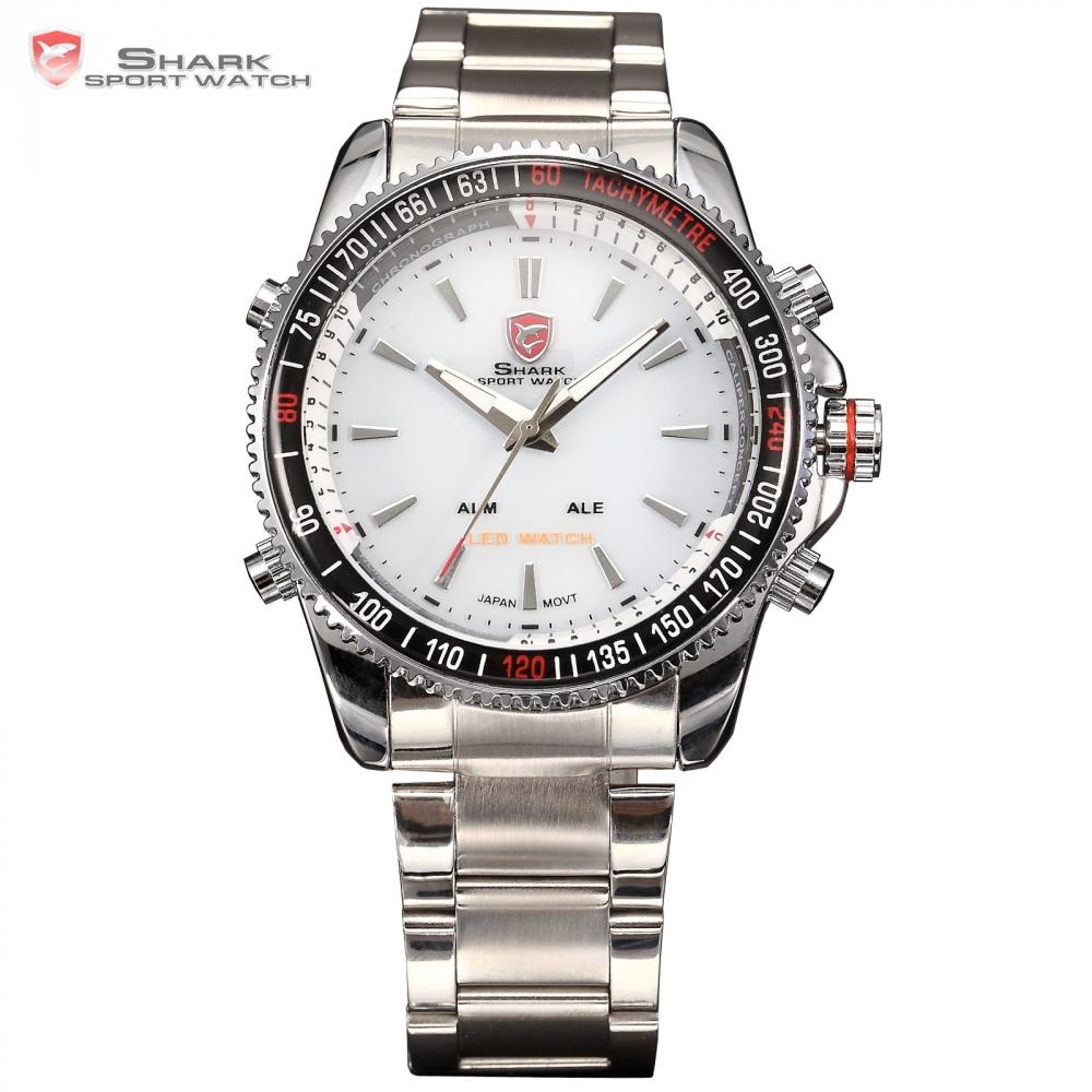 Prix pour Mako SHARK Sport Montre Numérique LED Back Light Date Alarme Complet acier Blanc Montre Homme Acier Bande Quartz Mens Montre-Bracelet/SH004