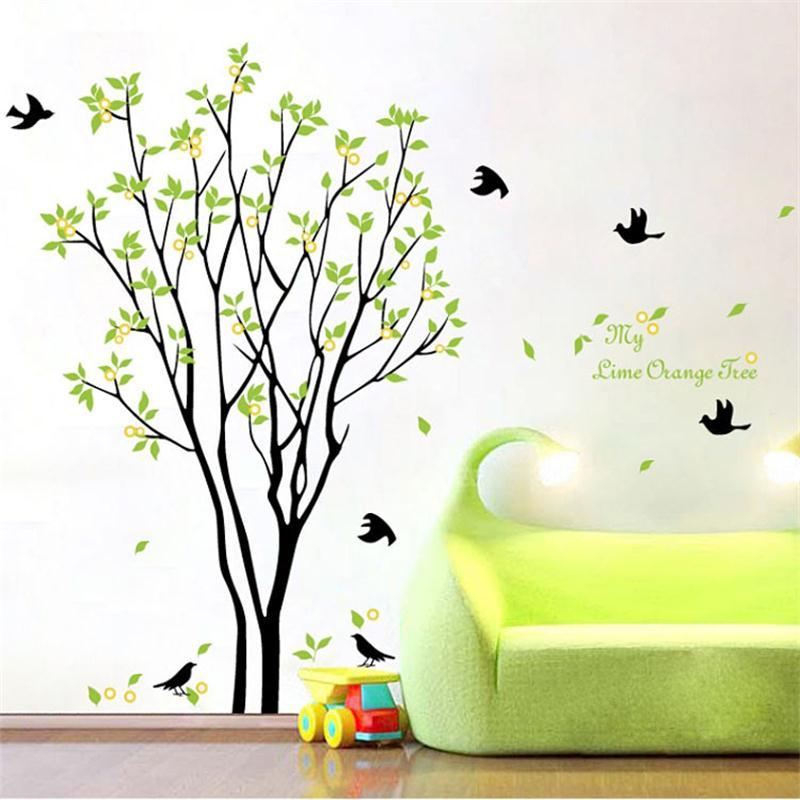 Árvores verdes pastoral adesivos de parede zooyooo9094 decoração para casa diy removível quarto decalque da parede