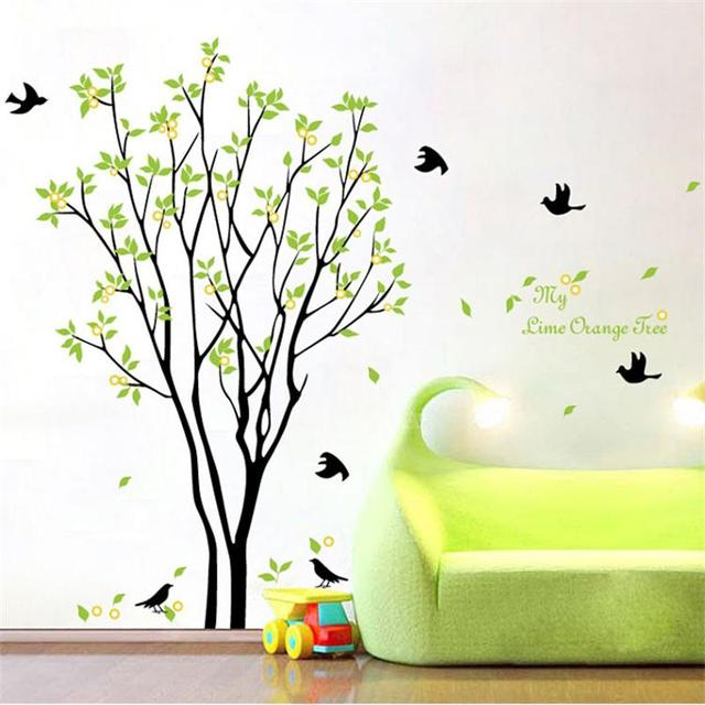 Зеленые деревья пасторальные наклейки на стену zooyoo9094 домашнее украшение diy Съемная Наклейка на стену спальня