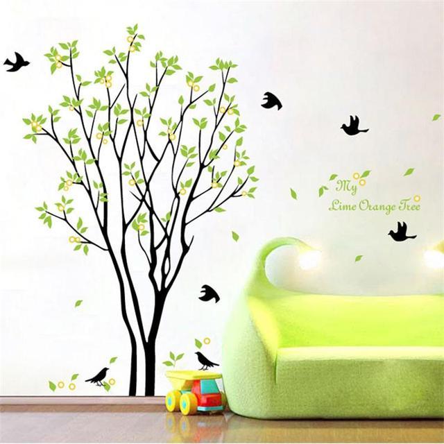 Зеленые деревья пасторальные наклейки на стену zooyoo9094 украшение дома diy Съемная спальня с настенными наклейками