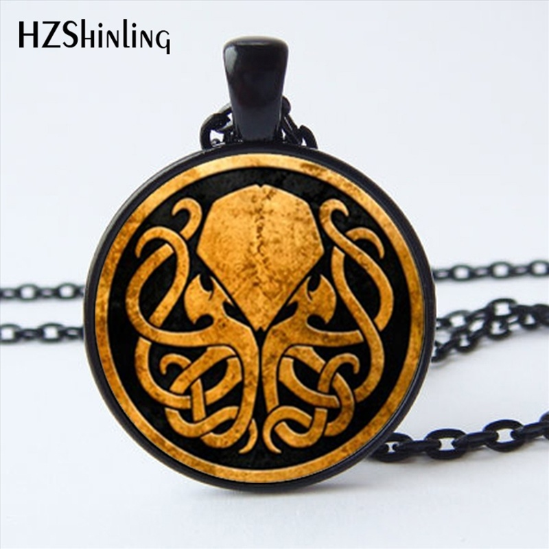 NS-00821 New Design Cthulhu Symbol Necklace Round Steampunk Cthulhu Jewelry Glass Cabochon Art Photo Necklace Wholesale HZ1 broad paracord