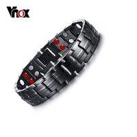 Punk Healthy Energy Bracelet Men Black Chain Link Bracelets Jewelry Stainless Steel Magnet Charm Bracelets For
