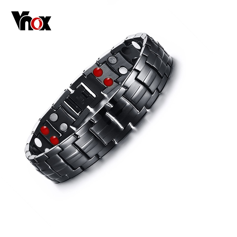 Vnox Punk Healthy Energy Bracelet Men Black Chain Link Bracelets Jewelry Stainless Steel Magnet Charm Bracelets for Men Jewelry bobo cover new cross vintage punk stainless steel animal bracelets men charm anchor bracelets