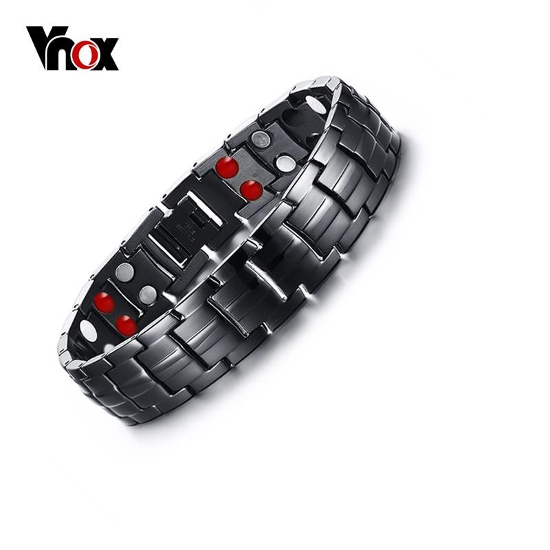 Vnox Punk Healthy Energy Bracelet Men Black Chain Link Bracelets Jewelry Stainless Steel Magnet Charm Bracelets for Men Jewelry punk link chain mens womens bracelets chains fashion jewelry charm bracelets wristband bracelets
