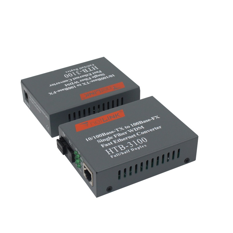 1 Pair HTB-3100 Optical Fiber Media Converter Fiber Transceiver Single Fiber Converter 25km SC 10/100M Singlemode1 Pair HTB-3100 Optical Fiber Media Converter Fiber Transceiver Single Fiber Converter 25km SC 10/100M Singlemode