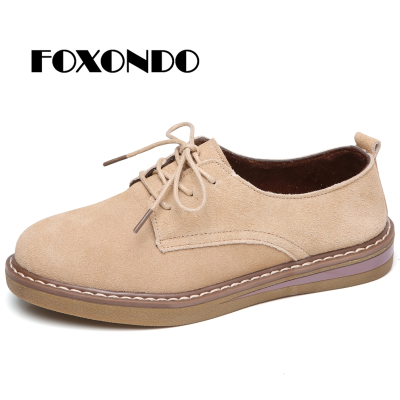 FOXONDO 2019 Autumn women sneakers oxford shoes flats shoes women   leather     suede   lace up boat shoes round toe flats Cow   suede   768