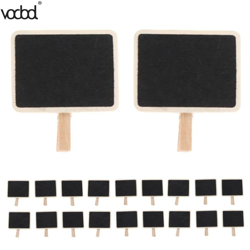20pcs Mini Wooden Note Blackboard Clamps Retangle Chalkboard Blackboard Clip Tag Message Board For Wedding Party Paper Photo DIY