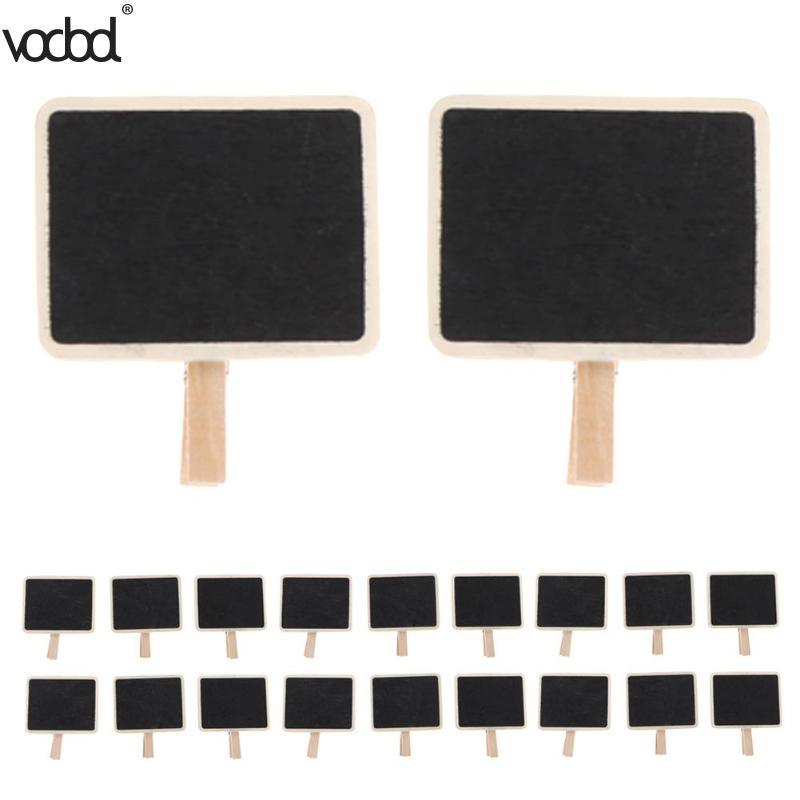 20pcs Mini Wooden Note Blackboard Clamps Retangle Chalkboard Blackboard Clip Tag Message Board For Wedding Party Paper Photo DIY