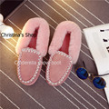 Cowskin with 100% Natural Wool lining slipper fashion warm long plush turned-over edge Shoes driver's shoes