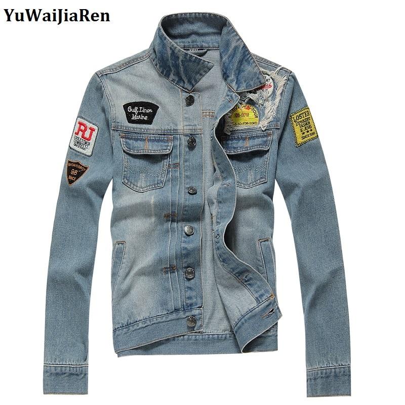 Yuwaijiaren Men S Denim Jacket Fashion Embroidery Jeans Coats Cotton