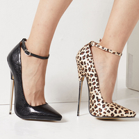 Sz36 46 Women's 18cm High Heel Stilettos Sexy Ankle Strappy Pointed Toe Shoes b5