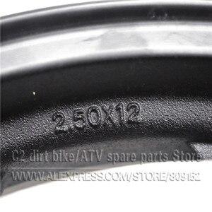 Image 5 - 2.50 12 אינץ קדמי חישוקים/2.75 12 אינץ אחורי רים עם סבבת #428 34 שן ו 200/220mm בלם דיסק צלחת עבור אופנוע גלגלים