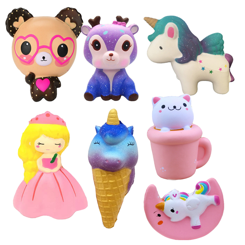 Novelty Gag Toys Squishy Unicorn Bear Pumpkin Icecream Toys Kid Squeeze Fun Slow Rising Doll Christmas Halloween Style Toy Gift