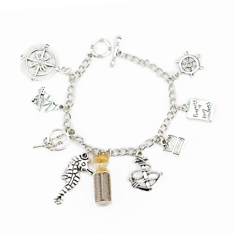 Peter Pan Charm Bracelet, Pirates of the Caribbean Charm Bracelet Bottle Charm Bracelet