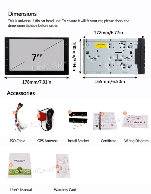 Récepteur lien miroir de voiture Android 6.0   Avec GPS, Double 2 Din Navigation, écran tactile de 7 pouces, Radio de véhicule, Headunit