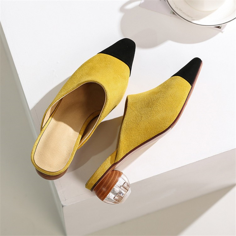 MSSTOR Pointed Toe High Heels Slippers Yellow Outdoor Fashion Sexy Mixed Colors Crystal Women Mules Kid Suede Shoes Woman 2019