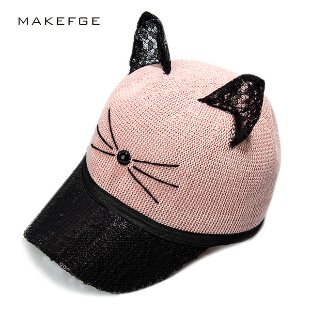 c2fdb5cdda713 2018 new meow Children Girl Summer fall black white Pink hat Cat ears Cat  Baseball cap