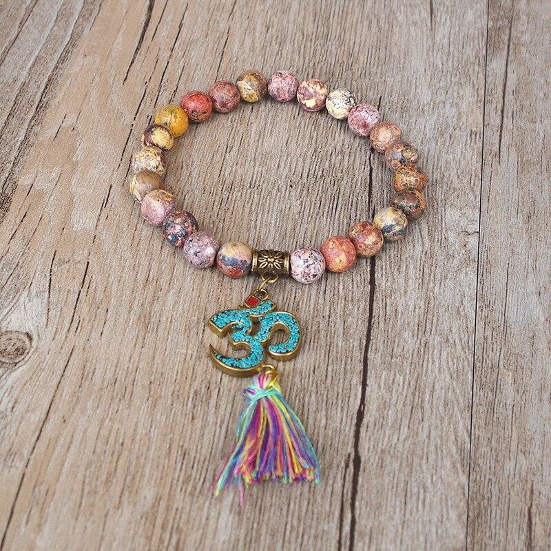 Handmade Tibetan Buddhism Natural Stone Chakra Mala Bracelet 3