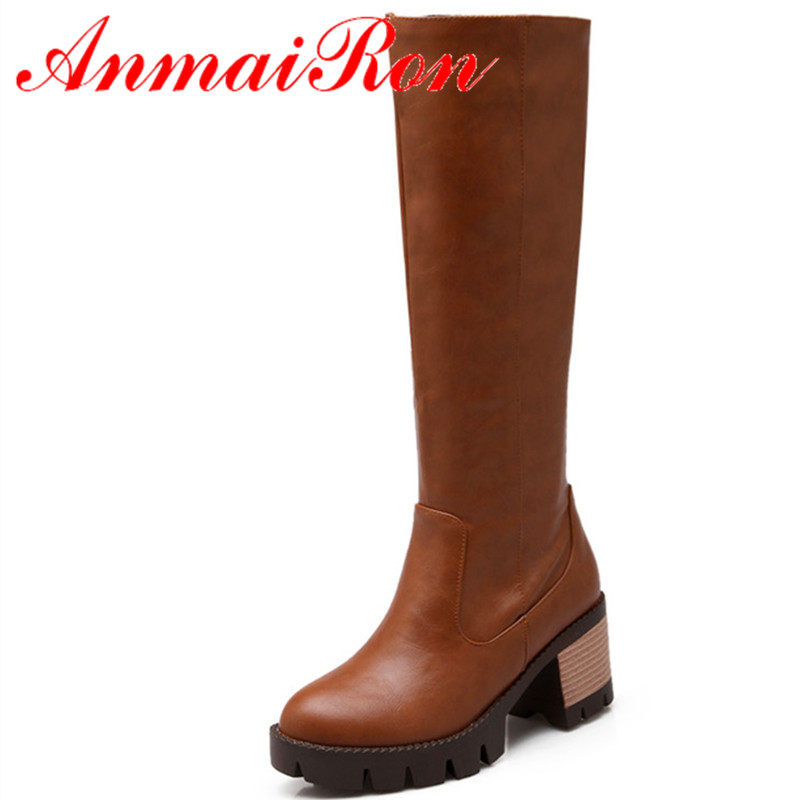 ANMAIRON Riding Boots Square Heel Spring/Autumn Shoes Women Large Size 34-43 Zipper Knee-high Boots Black Fashion Women Boots