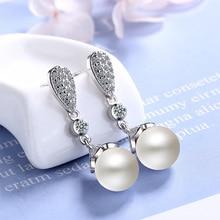 Classic long crystal drop earrings women girl white imitation pearl dangle female bride wedding engagement jewelry gift