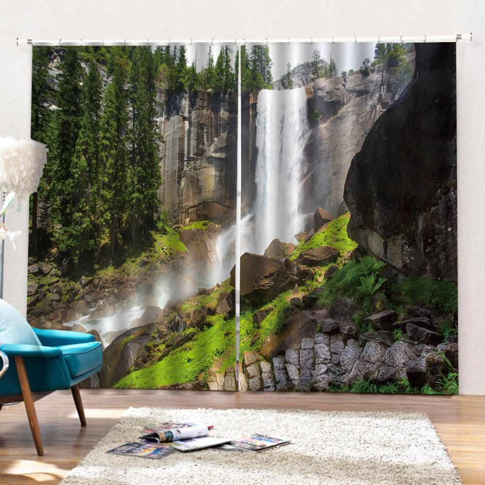 Custom modern 3d blackout window 3D Curtain Sunshine forest Curtains For Blackout Living Room Bedroom Photo Curtains 3d