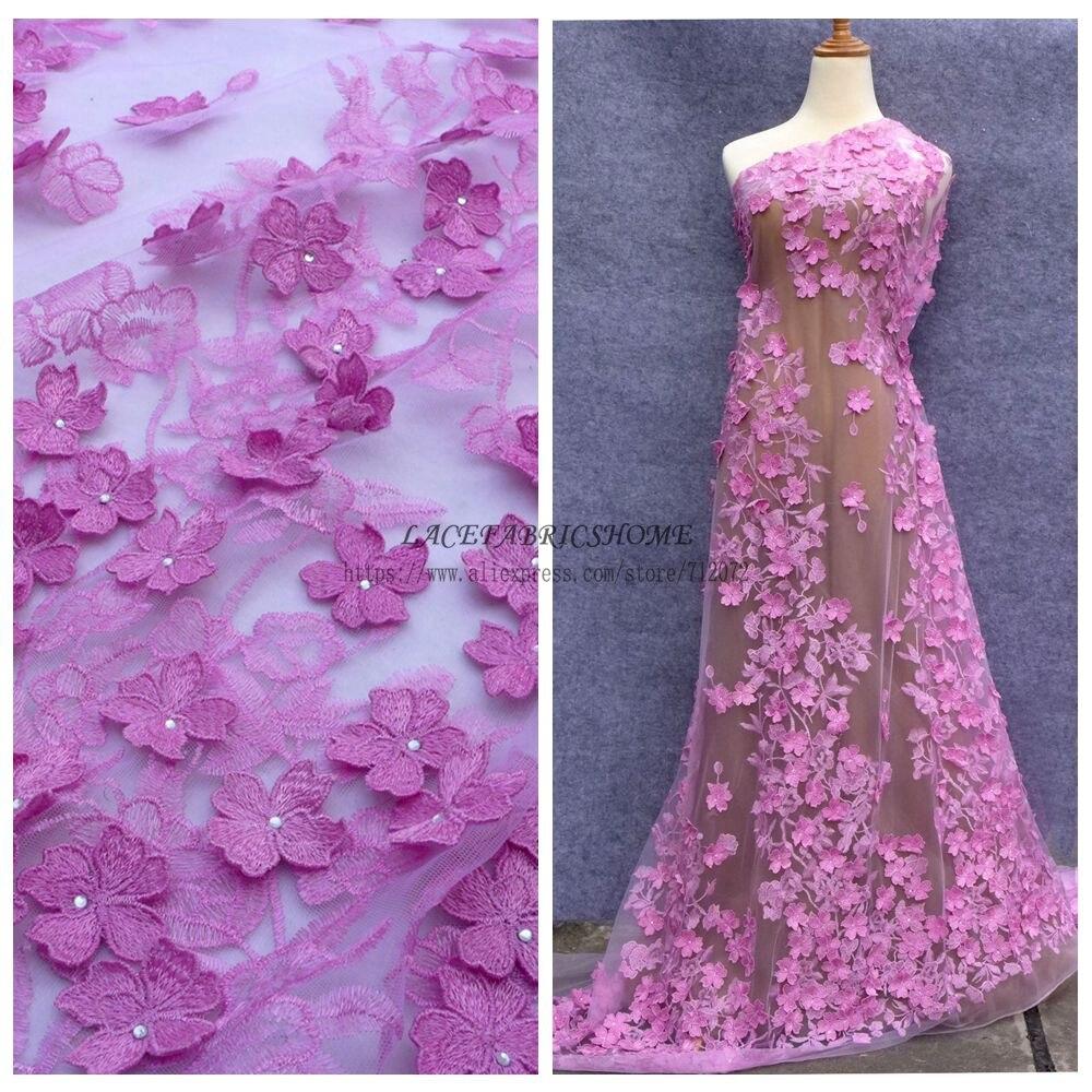 La Belleza 1 yard Rosa 3D-blommor stenar på nätet broderat klädtyg 1 yardväv wholsesale