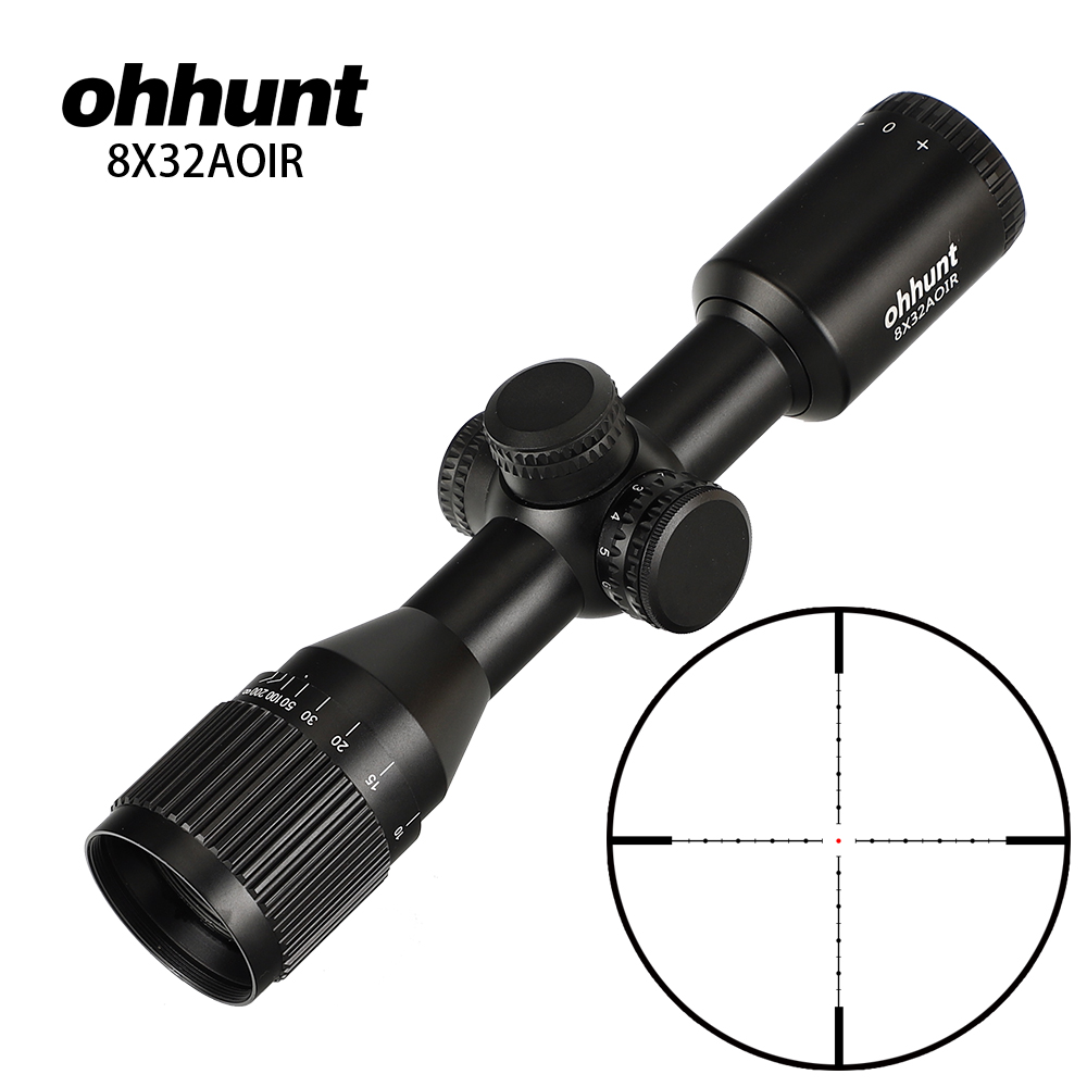 Hunting ohhunt 8X32 AOIR Compact Tactical Riflescopes Mil Dot Illuminated Glass Etched Reticle Turrets Reset Optics