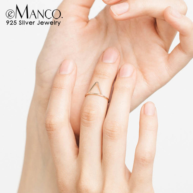 E-manco 925 anillos de plata de ley triángulo corona anillos de plata anillo de compromiso minimalista para mujeres joyería fina regalos clásicos