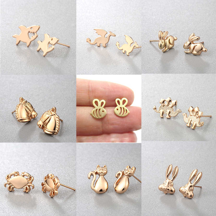 CHENGXUN Animals Stud Earrings for Women Fashion Jewelry Girls Earring Dog Cat Dragon Shape Alloy Earring 2018