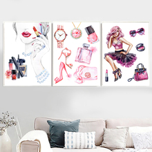 Watercolor Fashion Paris Perfume Woman Cosmetics Nordic Posters And Prints Wall Art Canvas Painting Picture Girl Home Decor