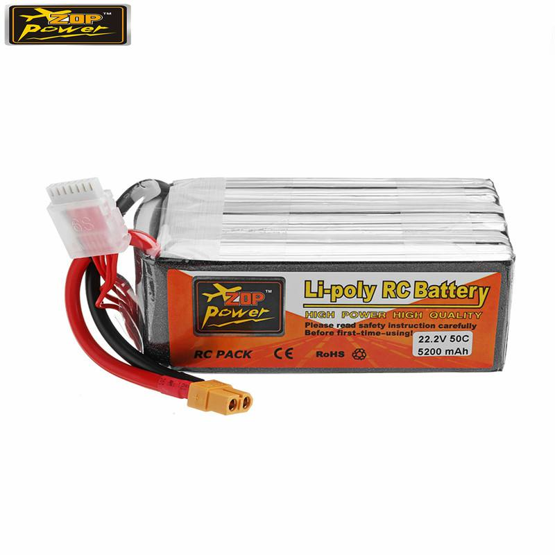New Hot ZOP POWER 22.2V <font><b>5200mAh</b></font> 50C <font><b>6S</b></font> Rechargeable <font><b>Lipo</b></font> Battery With XT60 Plug Connector For RC Models Multicopter Part Accs image