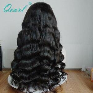 Image 4 - スーパー厚い密度レースフロント人間の髪かつらブラック 480 グラムブラジルの Remy 毛レースフロントかつら 13 × 4 Qearl 髪
