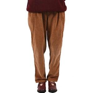 Image 2 - Johnature 2017 calças de veludo feminino do vintage outono inverno casual engrossar cintura elástica quente solto algodão plissado