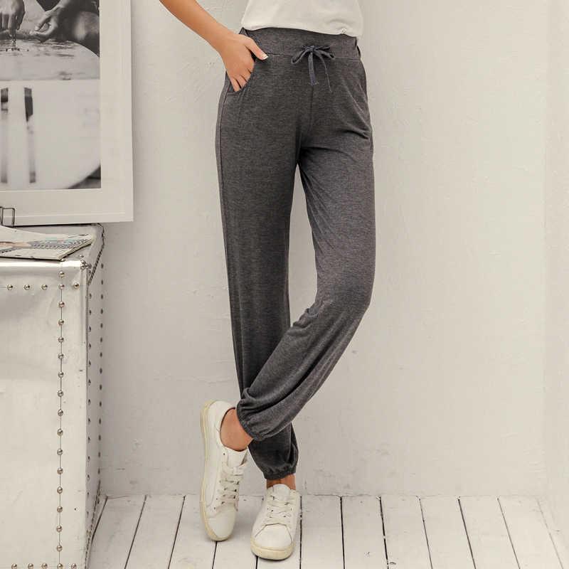 Pantalones de mujer Pantalones Casual cintura elástica entrenamiento cintura alta suelta pantalones recortados