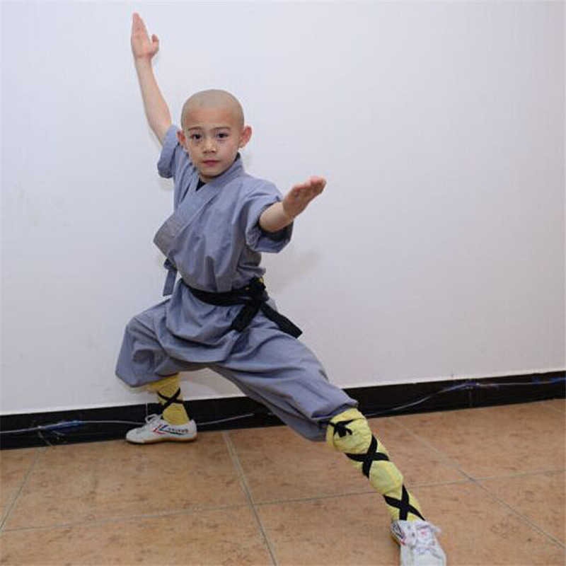2017 Kids Monk Kung fu Uniform Gray Cotton Shaolin Wushu Suit 3-12 Years Boys Shaolin Monk Halloween Cosplay  Costume