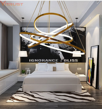 Vitrust Modern Chandeliers Lighting Nordic Hanging Lamps Fixture Home Ring AcrylicCeiling Living Room Dining Bedroom Gold Lamps