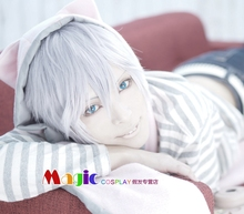 Kitakado Tomohisa cos Hot B-project cosplay wig Short white wig Synthetic Hair