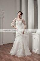 Vestido De Noiva Lace Wedding Dress Mermaid Scoop Half Sleeves Wedding Dresses Court Train Beadings Bridal