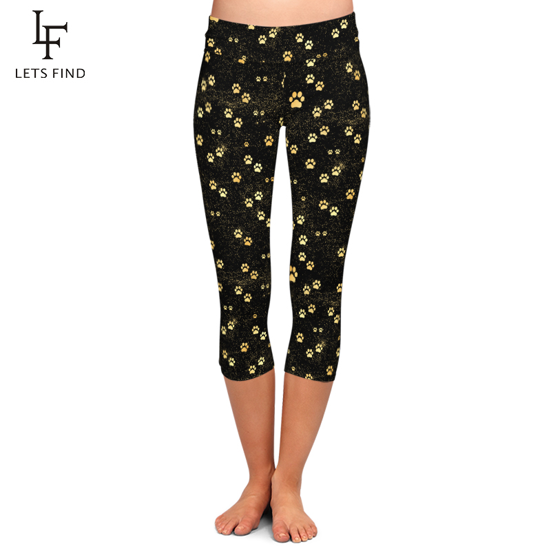 Women Leggings Elastic Capri Legging Dog Paw Printed Pants High Waist Plus Size Mid-Calf 3/4 Stretch Casual Leggings Fou Summer