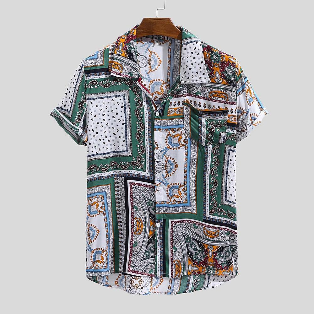 Mens Printed Button Down Casual Short-Sleeved Summer Shirt XXL,Orange