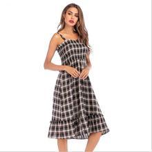 Sexy Retro Plaid Pleat Womens One-piece Dress 2019 Summer Fashion High Waist Mid-long Ruffles Women Dresses