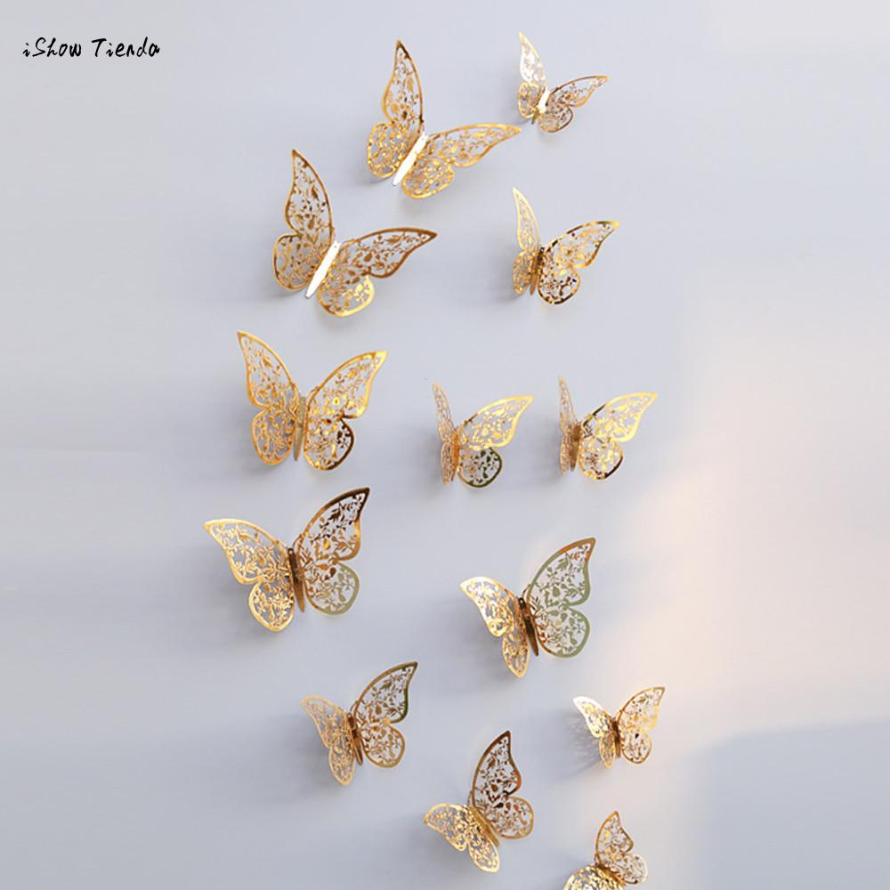 Fridge Wall-Stickers Mariposas Home-Decoration Butterfly Hollow for 12pcs 3D New