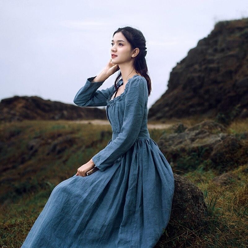 vestidos mujer Spring Autumn Women Elegant French Vintage Court Style Square Collar Long Sleeve 100%Linen Cinderella Long Dress